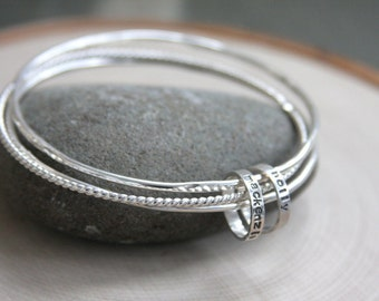 Bangle bracelets, set of bangles, hand stamped bangles, hand stamped, sterling silver bangles, custom, personalized, coordinates, gift