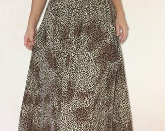 Vintage bohemian leopard 80's skirt