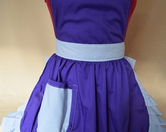 Retro Vintage 50s Style Full Apron / Pinny - Purple & Silver / Grey