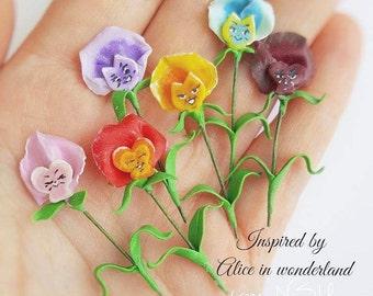 Alice in wonderland miniature Pansies clay flower