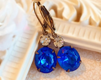 Best Gifts for Wife - Sapphire Earrings - Victorian Jewelry - Blue Earrings - Victorian Earrings - MYSTERE Sapphire