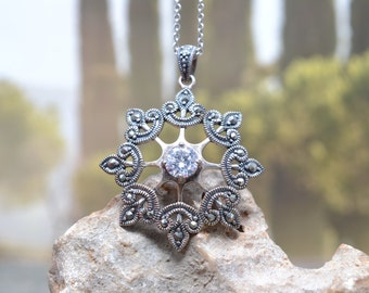 Sterling Silver and Marcasite Snowflake Necklace, Sterling Snowflake, Snowflake Jewelry, Sterling Silver Winter Necklace, Winter Jewelry