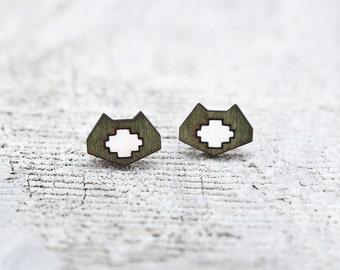 Cat Geometric Earrings, Tribal stud earrings, Ear Posts, Valentine's Day Gift, Cat Lover Gift, Green Minimalist Earrings, Gift for Wife