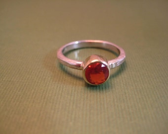 Fire Opal ring 18kt and sterling stackable ring
