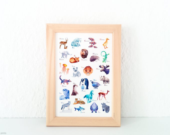 Alphabet print, Nursery decor, Animal ABC print, Alphabet poster, Alphabet art, ABC Print, Nursery art, Nursery alphabet, Kids room decor