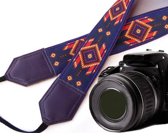 Dark purple Native American inspired Camera strap.  Southwestern Ethnic Camera strap.  DSLR, SLR Camera Strap. Camera accessories by InTePro