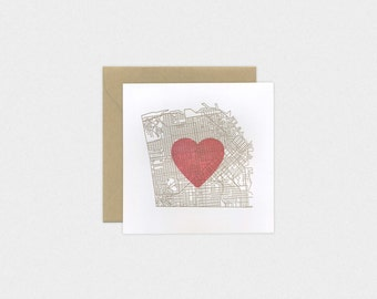 San Francisco SF Map with Heart. Square Letterpress Greeting Card.