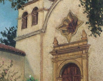 Carmel Chapel- small original pastel painting california mission spanish facade church bell tower