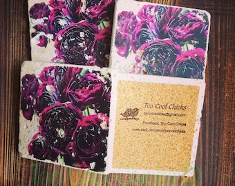 Purple Flowers Tumbled Marble Coasters