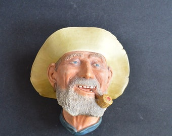 1977 Vintage BOSSONS Chalk Ware Wall Figural Head OLD TIMER – Incredible Detail Great Nautical Decor