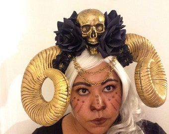 Goth Big Statement Gold Skull  with Gold Horns and Black Flowers Headdress, Maleficent, Tribal Headpiece!!