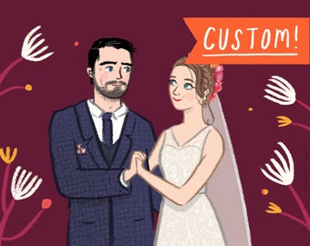 Custom Couples Portrait - Original Watercolour or Digital Portrait Illustration for Engagement, Anniversary, Weddings & Valentine's Gifts!