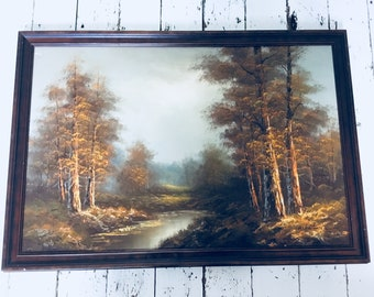 Extra large oil painting brown frame - Signed Whitman Vintage Retro countryside country scenery