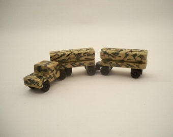 Classic Wood Tractor Trailer, Wood Toy Car, Wood Toy For Kids.Camo Wood Toy Truck, Kids Wood Toy, Toy Truck