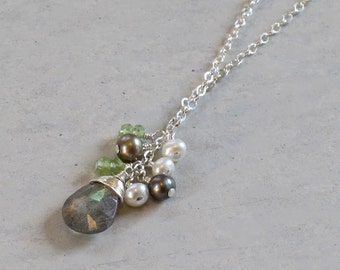 Labradorite, Peridot & Fresh Water Pearl Cluster Sterling Silver Necklace