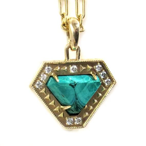 Geometric Malachite and Diamond Yellow Gold Pendant - Ready to Ship - One of a Kind