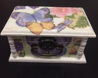 Gift Wooden Box Jewelry with decoupage