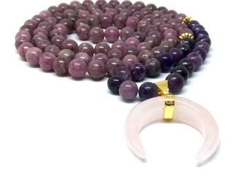 lepidolite mala beads, 108 bead mala, necklace, rose quartz mala, prayer beads, meditation beads, yoga beads, mala necklace, malas