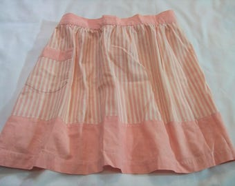 Vintage Aprons, Pink and White, Kitchen Apron, Pink and White Apron, Striped apron, half apron, Costume