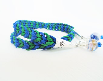 Blue Green Woven Kumihimo Wrap Bracelet Glass Bead Nylon Paracord By Distinctly Daisy