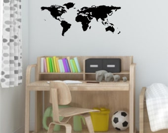 World map wall sticker decal with pointers world map wall decal sticker gumiabroncs Gallery