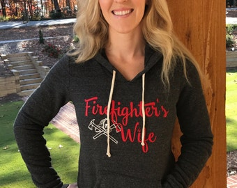 FREE SHIPPING! Firefighter's wife hoodie, fireman's wife hooded sweatshirt, fire fighter, fire fighter wife hoodie,