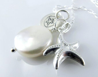 White Sands Necklace - Sterling Silver Starfish, Coin Fresh Water Pearl, Charm Necklace