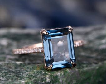 London Blue topaz engagement ring-Solid 14k rose gold-Solitaire Infinity Ring-basket-7x9mm Emerald Cut gemstone promise ring for her-halo