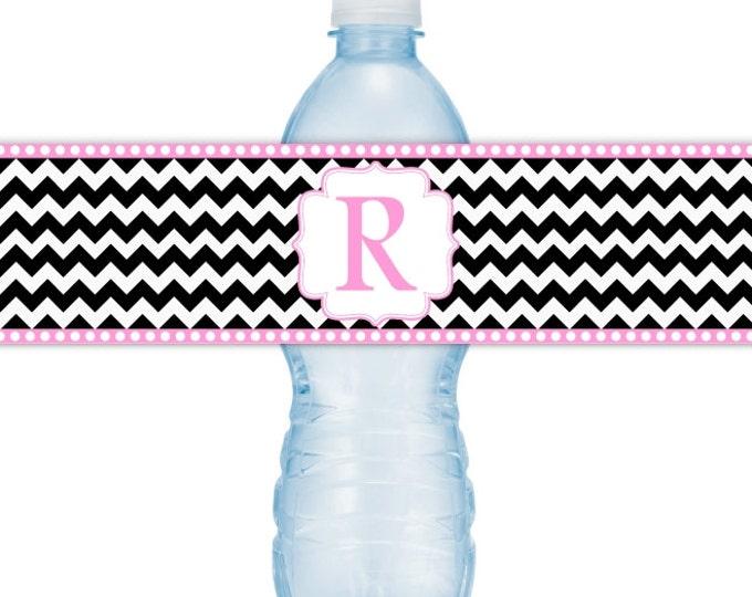 Wedding Monogram Water Bottle Labels - CUSTOM Printable Chevron Water Bottle Labels, YOU print, you cut, DIY water bottle labels