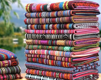 150cm / 59 inch Width, Nepal Style Colorful Jacquard Striped Pattern Gallery Cotton Fabric, Half Yard