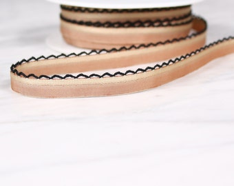 6 m 11mm, polyester, sand and black ribbon, (4619)