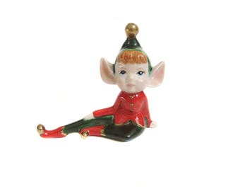 Ceramic Elf Figurine, Red and Green Sitting Elf, Big Pointy Ears, Pixie Elf, Vintage Elf, Vintage Holiday Decoration