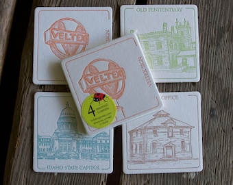 BOISE 2 Coasters, (Letterpress printed, 3.5 inches) set of 4, perfect gift