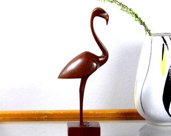 Mid Century TEAK BIRD Flamingo FIGURINE - Vintage 1960s