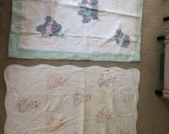 Antique 1920s Hand Stitched Appliqué Cats And Elephants Baby Quilts Lot Of 2