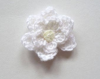 White crochet flower brooch and button