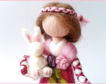Doll Waldorf decorative wool felted and her White Rabbit