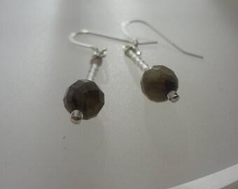 labradorite and crystal hoop earrings