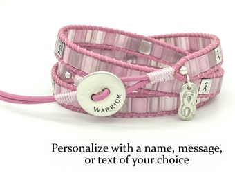 Personalized Breast Cancer Awareness Triple Wrap Bracelet Sterling Silver
