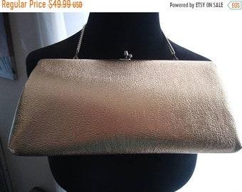 ON SALE Vintage Gold Clutch Purse * 1960's Retro Black Tie Formal Bag * Retro Rockabilly Glamour Girl Style Handbag Mid Century Collectible