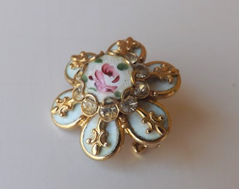 Vintage rhinestone guilloche pink rose pin or brooch gold tone fleur de lis French blue enamel brocante stocking stuffer gift for her