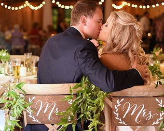 Mr and Mrs chair signs, Mr and Mrs signs,  Mr and Mrs table sign, Mr Mrs signs, Mr Mrs chair signs, Mr Mrs banner, Mr and Mrs wooden signs