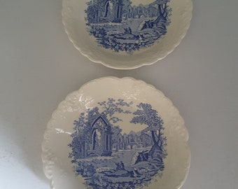 Vintage English Abbey By Taylor Smith and Taylor China Blue and White. Set of 2 Soup Cereal Bowls Farmhouse Country Kitchen
