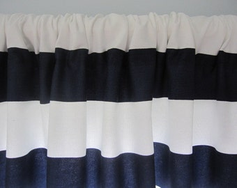 Wide Stripe Curtain, Blue and White Horizontal Stripe Curtain Valance 50 x 18