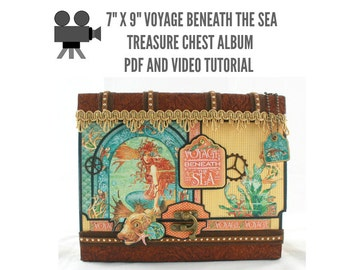 "7"" x 9"" Voyage Beneath the Sea Scrapbook Album PDF and Video Tutorial"