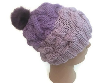 Pink Lavender Braided Cable Hat Ultra Violet Combination Hand Knit Handmade