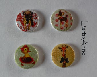 Magnets animals Retro Badges or magnets.