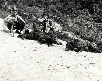 Vintage photo 1920 Men Hold Terrier Dogs Bear Hunter Mountainside Hunt