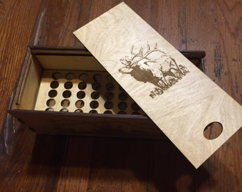 Engraved ammo box, engraved bullet box, wooden bullet box, wooden ammo box, ammunition box, bullet storage box, ammo storage box, bullet box