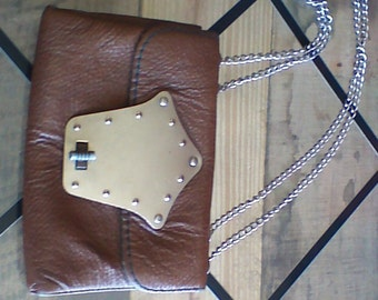 Vintage 70's brown leather purse free shipping